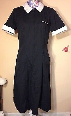 WHITE SWAN Maid Uniform Black With White Scalloped Trim Costume Size 14