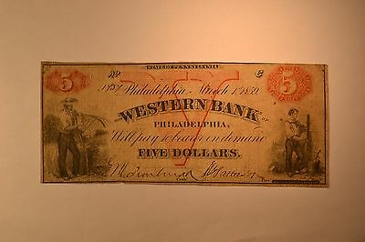 Philadelphia, PA- The Western Bank of Philadelphia $5 Mar. 1, 1859.  Fine.