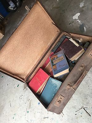 40 (or more) Vintage Books, mostly Religious, mixed bulk lot in old suitcase.
