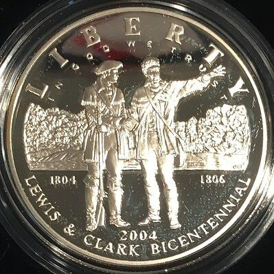 2004 Lewis and Clark Proof Silver Dollar Coin w/ Case, Box and COA