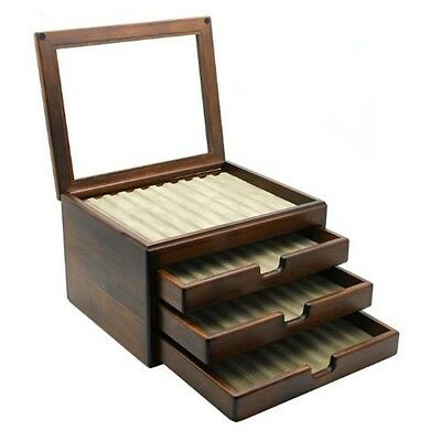 Wooden Stationery Fountain Pen Case Display 40 Slot Collection Storage Japan New