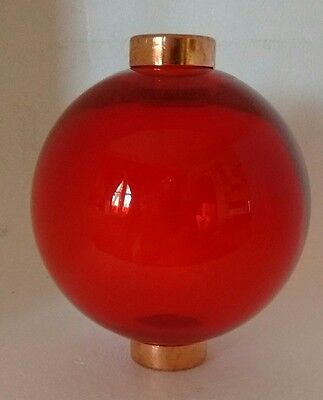 Red Glass Lightning Rod Ball Roof Home Cabin Decor