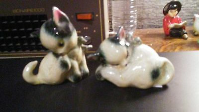 Adorable vintage bluish grey and white CAT salt & pepper shakers