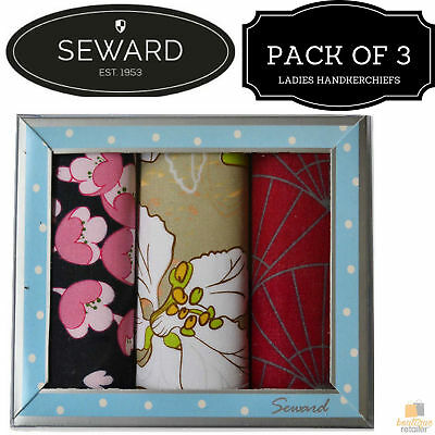 3x LADIES PREMIER SEWARD Floral Handkerchiefs 100% COTTON Hanky Gift Box 14427