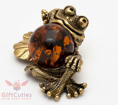 Russian Solid Brass Amber Figurine Frog on Water Lilly Totem talisman IronWork