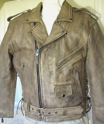 Mens Distressed Brown Leather Motorcycle Jacket w/ Gun Pockets Vented Sizes New