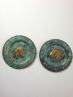 Set Of 2 Brass Antique Horse Wall Decor Patina Equestrian