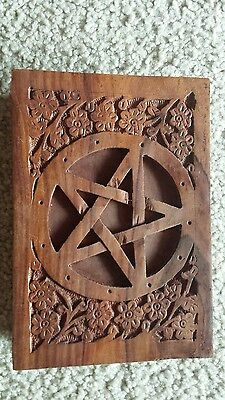 PENTACLE WOODEN BOX - CARVED - TAROT BOX Wicca Witch Pagan Goth K