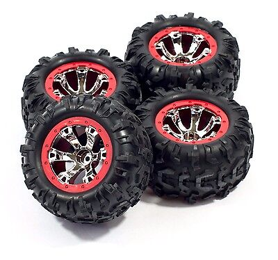TRAXXAS 1/16 2.2 VXL Summit Red pre glued geode wheels & canyon tires 12mm hex