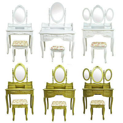Bedroom White Dressing Table Gold Makeup Desk 4/7 Drawers 1/3 Oval Mirror Stool