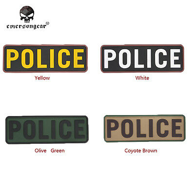 Emerson PVC POLICE Letter Patch Wargame Airsoftsports Equipment EM5527 4 Colors