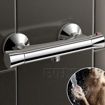 Premium Square Thermostatic Shower Bar Valve in Chrome | Exposed Bathroom Mixer