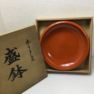 JAPANESE Vintage Lacquered vermillion red bowl antique wooden w/wooden box JAPAN