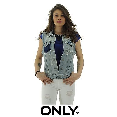 Only CHRISTA gilet donna denim smanicato jeans PREZZO OUTLET