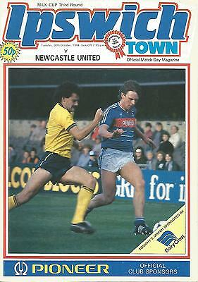 Football Programme - Ipswich Town v Newcastle Utd - League Cup - 1984