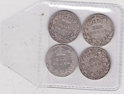 4 Silver Sixpences Dated 1902/1907/1909 & 1910 In Fair Or Better Condition