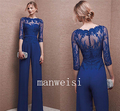 Wedding Formal Custom Mother Of the Bride Jumpsuits Navy Blue Chiffon Suits 2017