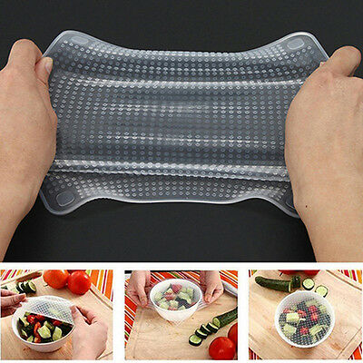 Home Kitchen Tool Clear Square Reusable Silicone Food Wrapper Seal Cover Dulcet
