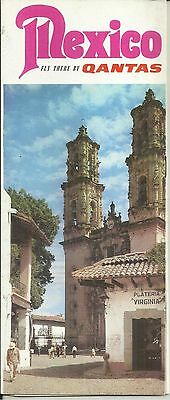 1966 Qantas Airlines Fly To Mexico Tourist Brochure