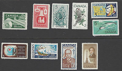 CANADA 1950s & 1960s. Ten MNH stamps.  See details below.