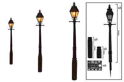DCC Concepts :- 3 x Tapered Post Gas Lamps LMS Marroon Brand New & Packaged