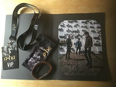 A-Ha Vip Cast In Steel Tour Pack - Signed Photo, Lanyard & Leather Bracelet