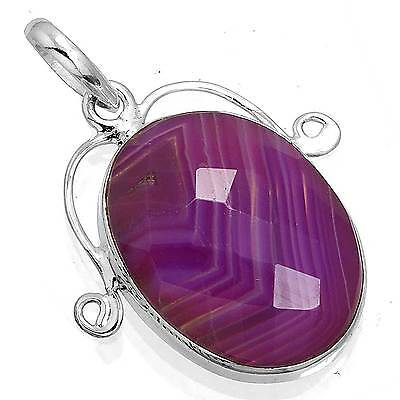925 Sterling Silver Jewelry Genuine Botswana Agate Gemstone Pendant ax27862