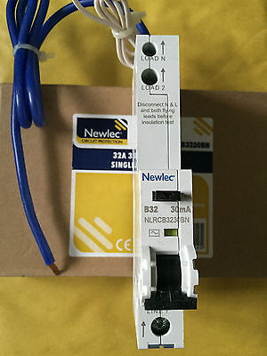 NEWLEC NLRCB3230NB - 32a 30mA Type B Single Pole RCBO B32 NEW IN BOX