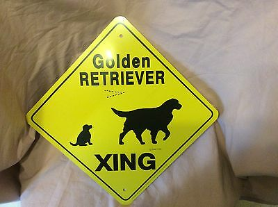 GOLDEN RETRIEVER  CROSSING  sign aluminum decor signs painting picture dogs home