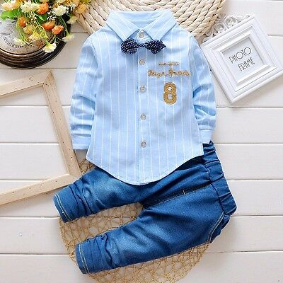 2pcs baby boys clothes shirt& jeans baby boys party daily Outfits tie gentleman