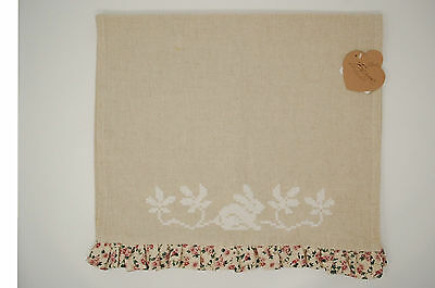 Runner in cotone e lino Floreal Easter cm45x145+3 Blanc MariClò.