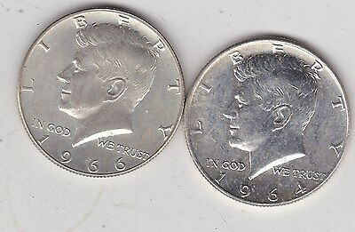 Two Usa 1964 & 1966 Kennedy Half Dollars In Near Mint Condition