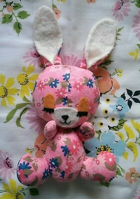 Vintage Kitsch Floral Fabric Bunny Rabbit Pink Ditsy Flowers Retro Cute