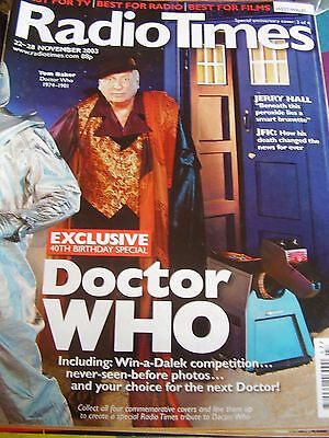 Vintage Radio Times November 2003 Tom Baker Doctor Who Jerry Hall Jfk