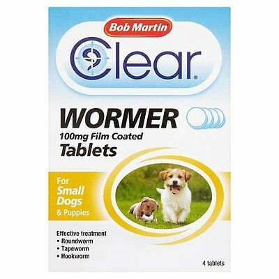 3 FOR £10 Bob Martin Clear Wormer Tablets for Small Dogs, 4 Tablets