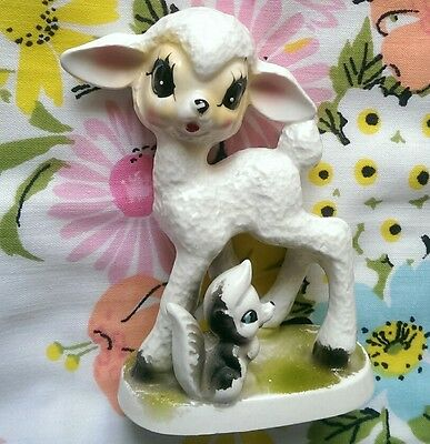 Cute Vintage Ornament Lamb Sheep Kitsch Retro Figurine Statue Porcelain Easter