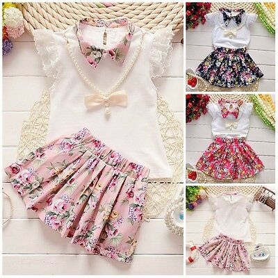 2pcs baby Girls clothes tops+skirt Set Outfits with necklace summer clothes