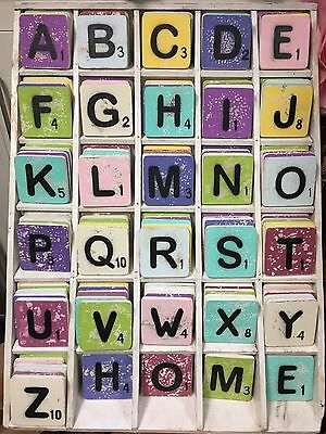 Scrabble Coasters Wooden Alphabet Name Coffee Tea Drink Shabby Chic Gift