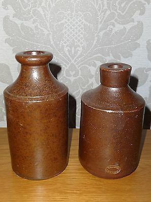 Vintage Denby Brown Heavy Stoneware Earthenware Ink Pot Bottles X2 Collectable!