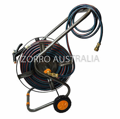 "NEW Flexible Garden Hose 12MM - 1/2"" AIFA Steel Reel Cart Trolley & Fittings"