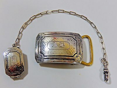 Antique Art Deco Signed Dated 1917 Sterling Silver Belt Buckle & Watch Chain Set
