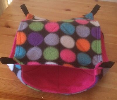 New Double Decker Quilted Hammock For Rats+small Animals. SPOTS + PINK FLEECE