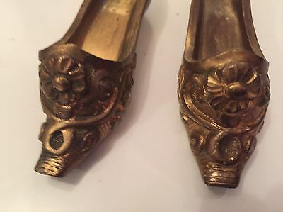 miniature shoes. Antique Gilded Bronze Pair  3.5 Inch