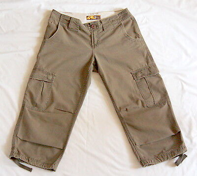 O'NEILL Men's Khaki Cropped 3/4 Length Cargo Combat Trousers Shorts Size 28 L22