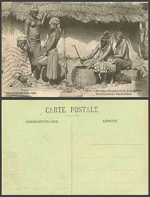 Senegal French West Africa Old Postcard Malinke Dyers, Native Women Girl at Work