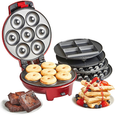 3 In 1 Waffle Mini Doughnut Brownies Sweet Snack Maker Non-Stick Red Waffles Pie