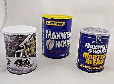 Lot of 3 Vtg Maxwell House Coffee Cans Metal w Plastic Lids  - Currier Ives