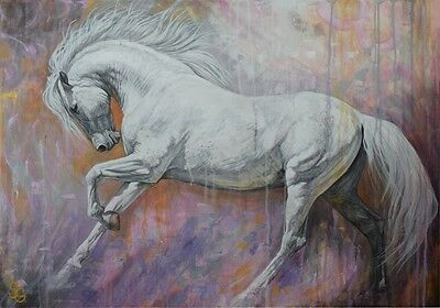 Original Painting White Horse Gallop 40 inch Signed Equine Fine Art Sale