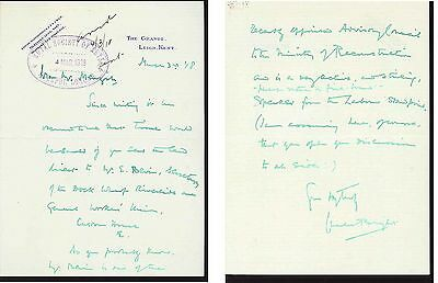 Sir Charles Bright - submarine cables-1918 letter re 'fire-brand' Ernest Bevin