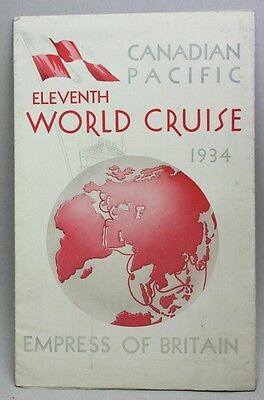 Vintage 1934 CANADIAN PACIFIC Brochure RMS EMPRESS OF BRITAIN/ 11th World Cruise
